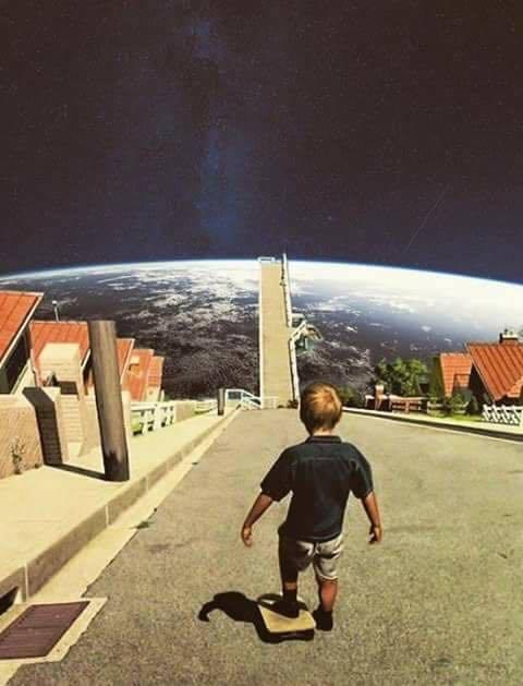 Future-of-future - kid skatingboarding to space